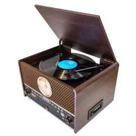 GPO ChestertonDAB stereo retro FM en DAB+ radio met Bluetooth, CD, platenspeler en cassettedeck