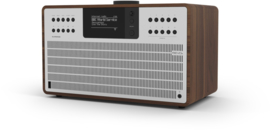 Revo SuperCD hifi stereo systeem met CD, Bluetooth, USB, DAB+, Internetradio en Spotify, walnoot-zilver