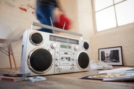 GPO Brooklyn Jaren 80 Retro Boombox met Bluetooth, CD, Cassette, USB en DAB+ radio