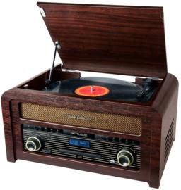 Muse  MT-115 DAB stereo intage muziekcenter met DAB+, FM, CD, USB, platenspeler en Bluetooth