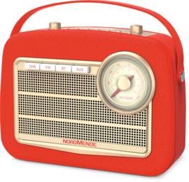Nordmende Transita 130 retro oplaadbare draagbare DAB+ en FM radio met Bluetooth, rood