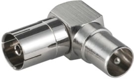Haakse COAX connector, female naar male