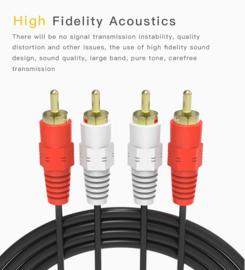 Stereo kabel: vergulde dubbel tulp / RCA, 150 cm