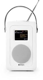 Steljes audio SA60 draagbare oplaadbare streaming internetradio met DAB+, FM, Bluetooth en Spotify connect, wit