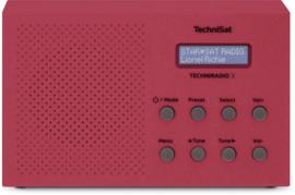 TechniSat TechniRadio 3 digitale portable radio met DAB+, FM en wekkerfunctie, rood