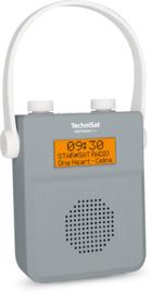 TechniSat DigitRadio 30 DAB+ en FM badkamer radio met Bluetooth ontvangst en oplaadbare accu, grijs