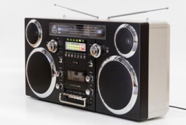 GPO Brooklyn Jaren 80 Retro Boombox met Bluetooth, CD, Cassette, USB en DAB+ radio, zwart