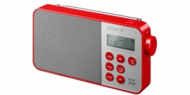 Sony XDR-S40 ultracompacte retrostijl radio met FM en DAB+, in rood