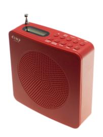 Tiny Audio Travel DAB+ en FM reisradio met wekker en accu, rood