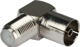 F connector Female naar COAX Female, haaks