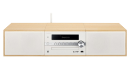 Pioneer X-CM66D stereo HiFi systeem met CD, DAB, FM, TuneIn internetradio, Spotify Connect en Bluetooth, hout - wit, B