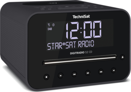 TechniSat DigitRadio 52 CD stereo wekker radio met CD, USB, Bluetooth, DAB+ en FM, draadloos Qi laden, antraciet