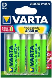 Oplaadbare Type D batterijen, VARTA, set van 2