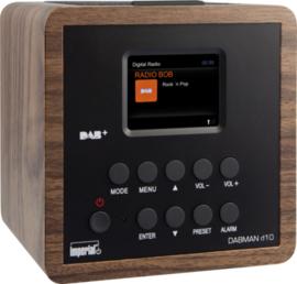Imperial DABMAN d10 wekker radio met DAB+ en FM, walnoot