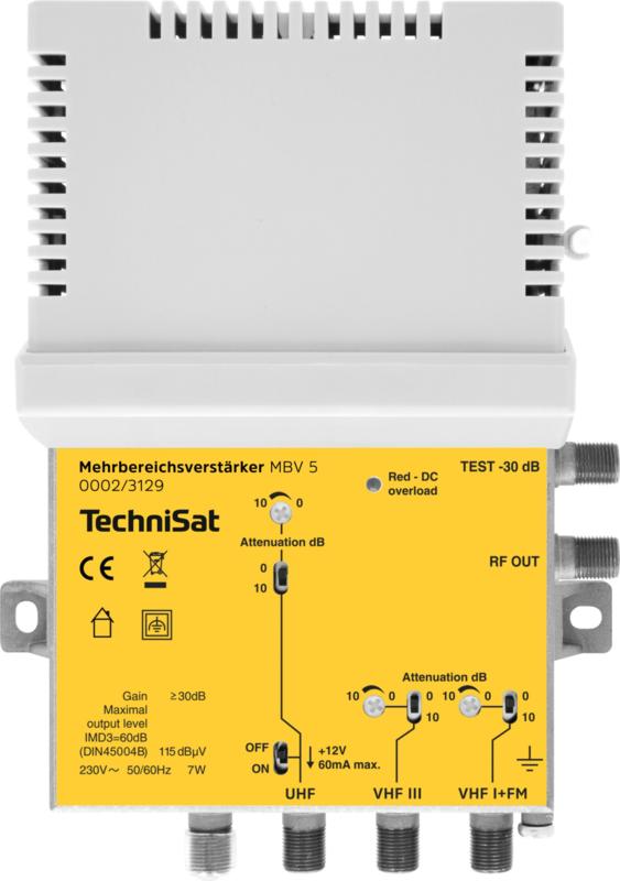 TechniSat DVB-T, DVB-T2, FM en DAB+ antenne versterker module