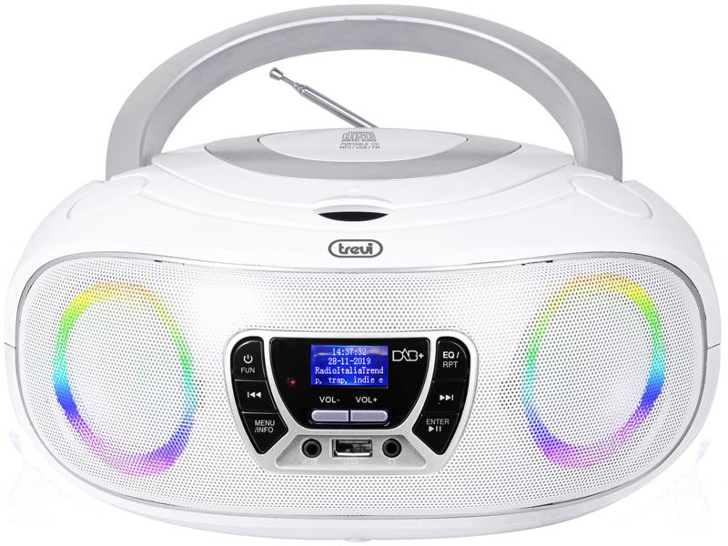 Trevi CMP 583 draagbare disco radio met DAB+, FM, en CD speler en afstandsbediening, wit