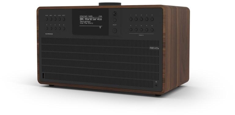 Revo SuperCD hifi stereo systeem met CD, Bluetooth, USB, DAB+, Internetradio en Spotify, walnoot-zwart
