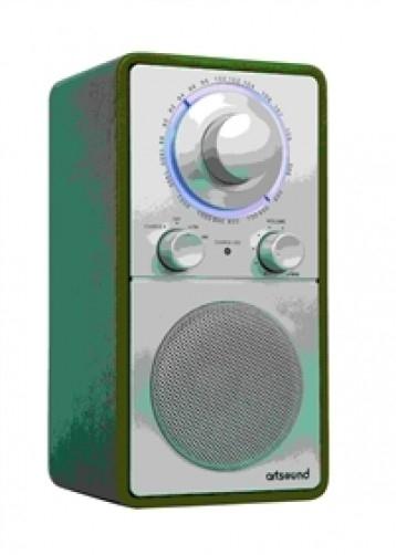 ArtSound R5 (FM / AM) in zilver met groen leder