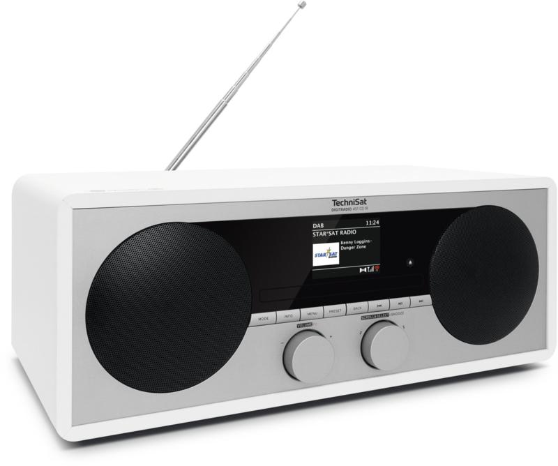 TechniSat DigitRadio 451 CD IR stereo houten wifi internetradio met CD, DAB+ en FM, wit