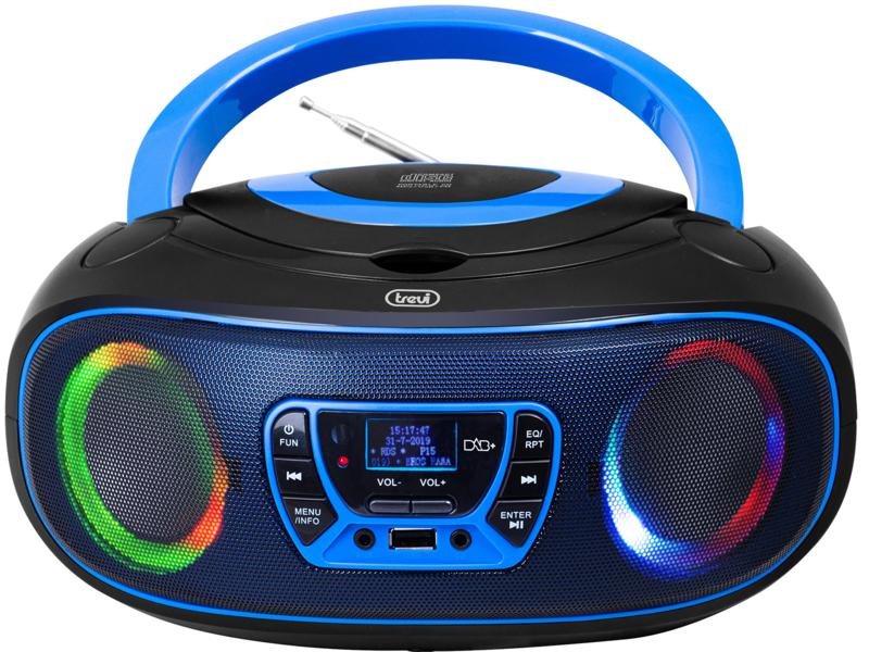 Trevi CMP 583 draagbare disco radio met DAB+, FM, en CD speler en afstandsbediening, blauw