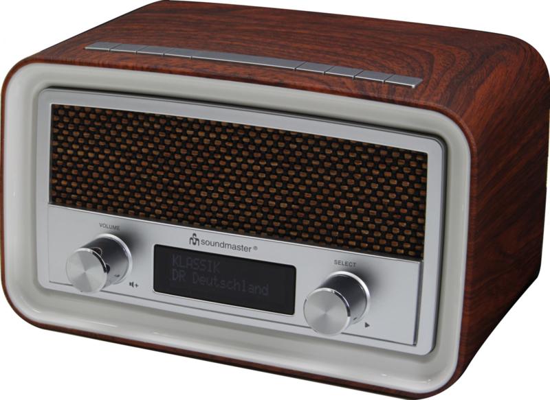 Soundmaster UR190DBR retro DAB+ en FM wekker radio, bruin