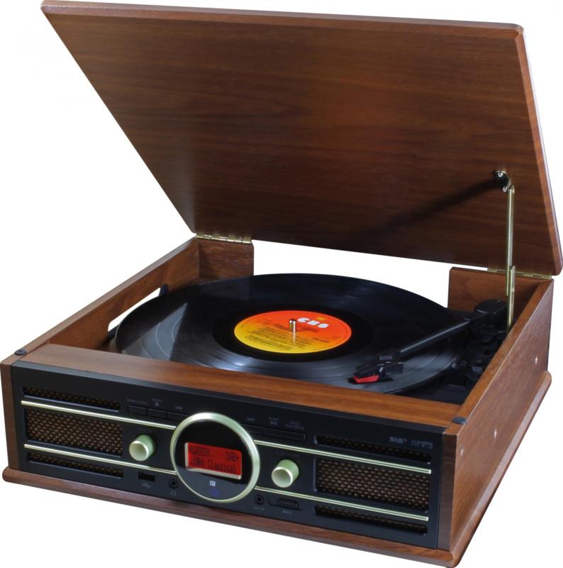 Soundmaster PL585BR DAB+ en FM radio met platenspeler, USB en opname