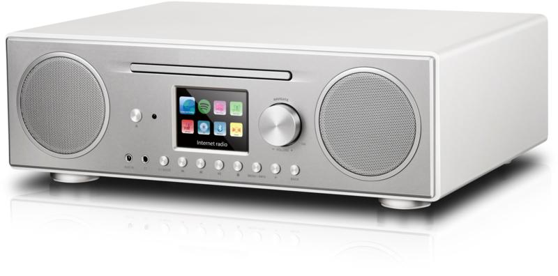 P TEC Pilatus internet stereo radio met DAB+ ontvangst, FM, Bluetooth, CD, USB en analoge ingang, zilver-wit, OPEN DOOS