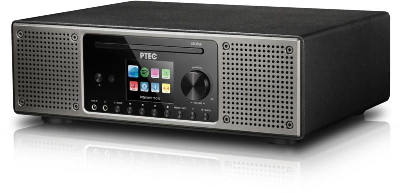 P TEC Pilatus 2 stereo radio met DAB+ ontvangst, FM, Bluetooth, CD, USB en analoge ingang, zwart
