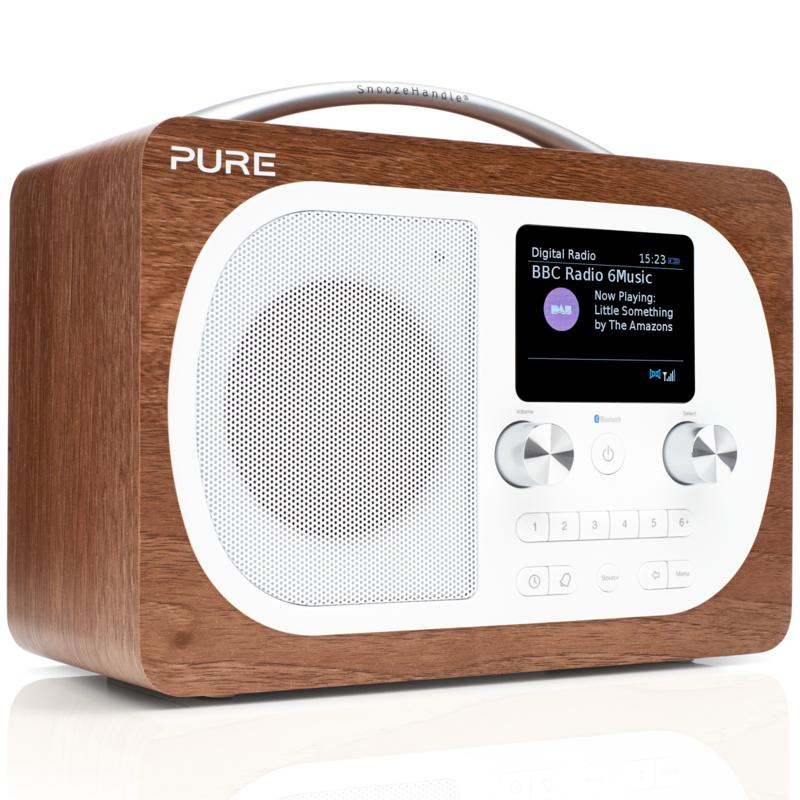 Pure Evoke H4 draagbare DAB+, FM en Bluetooth radio, walnoot