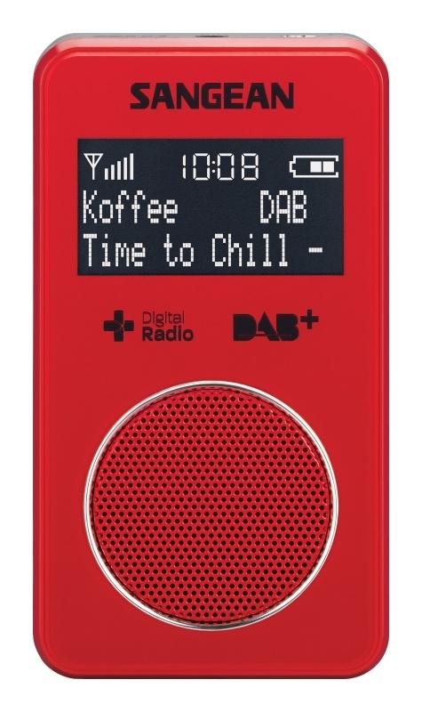 Sangean DPR-34+ oplaadbare pocketradio met DAB+ / FM en speaker, rood