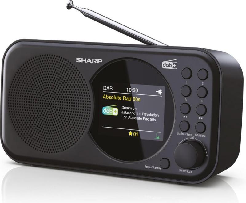 Sharp DR-P320 BK draagbare DAB+ radio met FM en alarmfunctie, zwart, OPEN DOOS