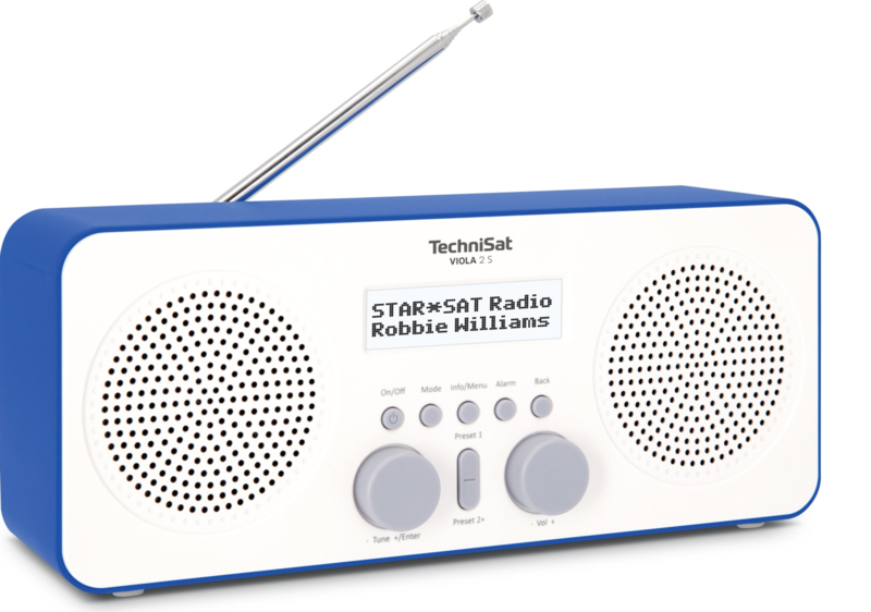 TechniSat Viola 2 S digitale portable stereo radio met DAB+ en FM, wit-blauw