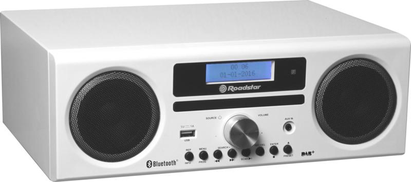 Roadstar HRA 9 WH stereo DAB+ radio met CD, USB en Bluetooth, wit