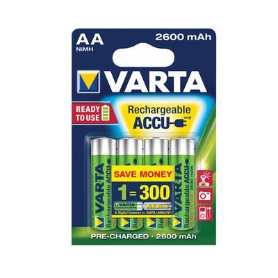 Varta AA oplaadbare batterijen, HR6, 2600 mAh, set van 4