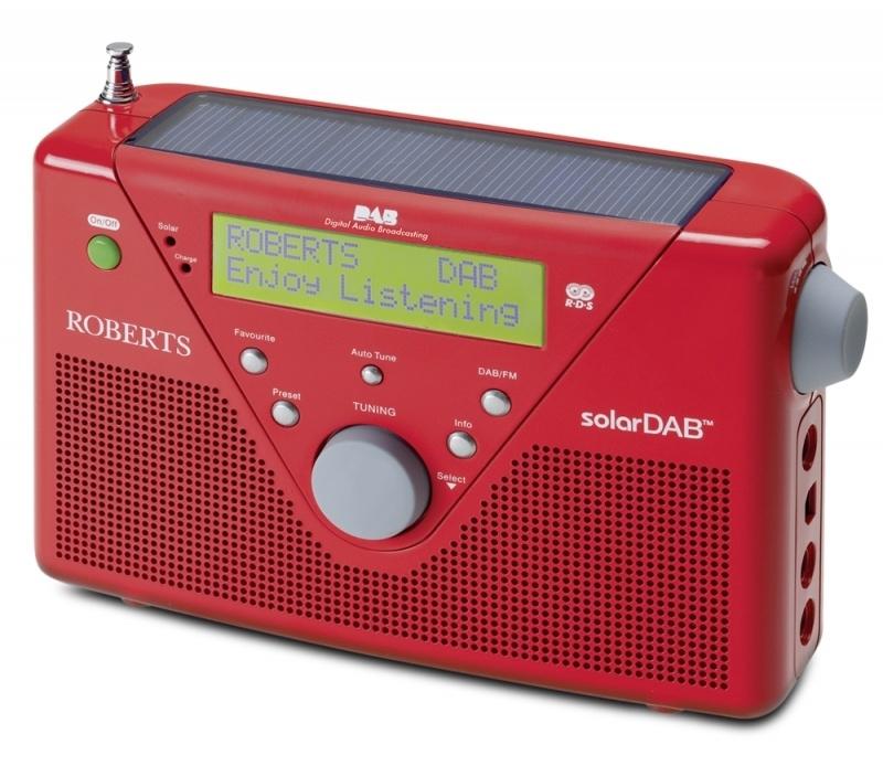 Roberts SolarDAB radio met DAB+ en FM met zonnepaneel, in rood