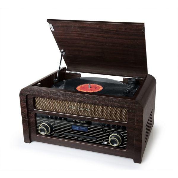 Muse  MTB-1150DAB stereo vintage muziekcenter met DAB+, FM, CD, USB, platenspeler en Bluetooth