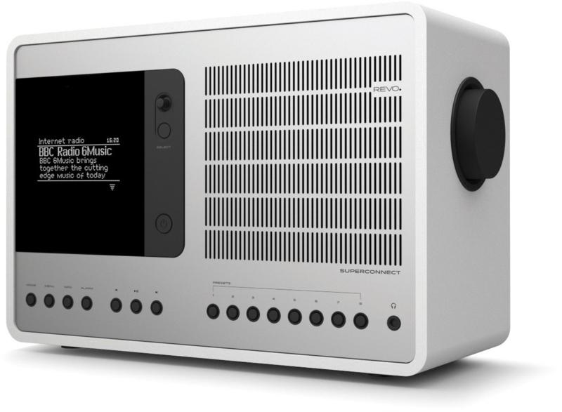 Revo SuperConnect radio met DAB+, internet, streaming, Bluetooth en Spotify, matwit zilver