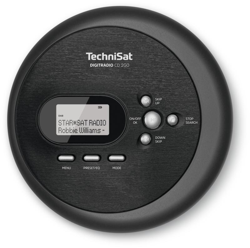 TechniSat DigitRadio CD 2GO draagbare DAB+ en FM radio met  CD speler, zwart