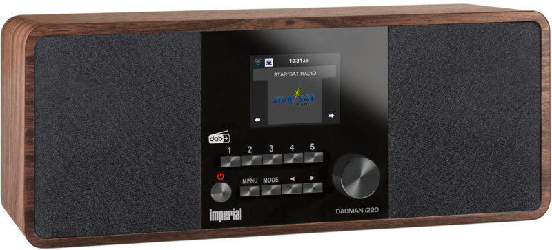 Imperial DABMAN i220 stereo hybride internetradio met Spotify, Bluetooth, DAB+ en FM, walnoot