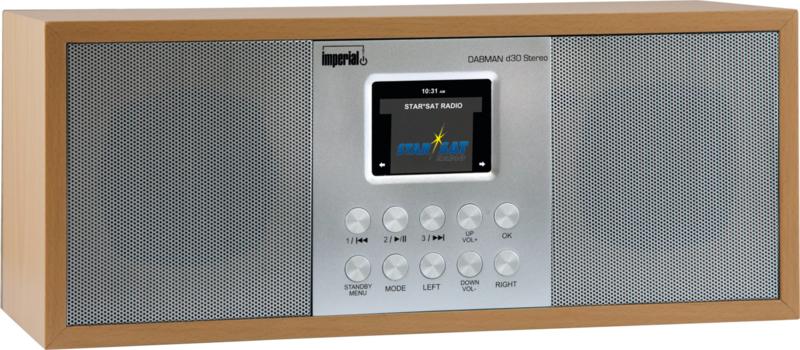 Imperial DABMAN d30 stereo radio met DAB+ en FM, USB en AUX, beech