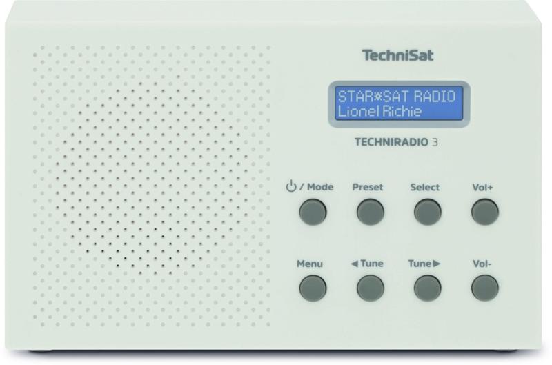 TechniSat TechniRadio 3 digitale portable radio met DAB+, FM en wekkerfunctie, wit