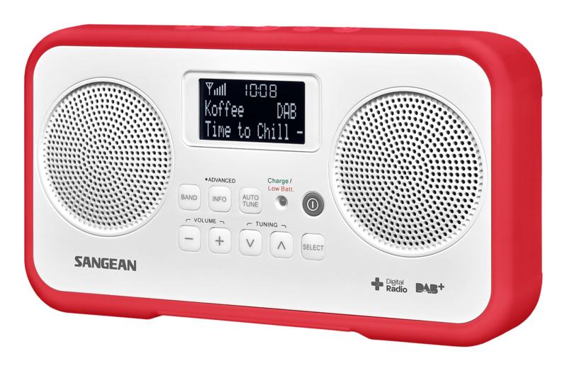 Sangean DPR-77 portable stereo DAB+ en FM radio, rood