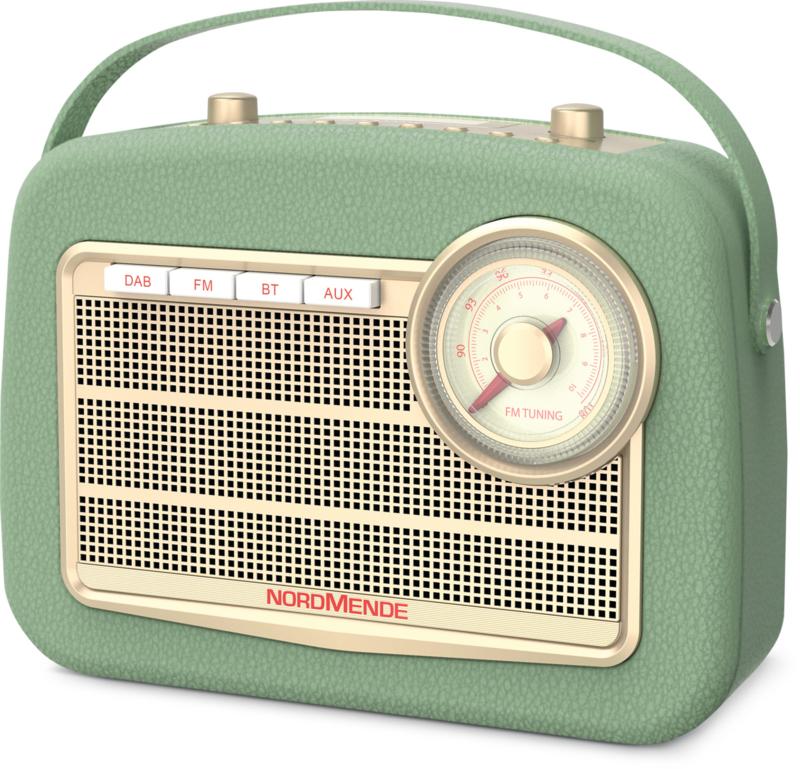 Nordmende Transita 130 retro oplaadbare draagbare DAB+ en FM radio met Bluetooth, groen
