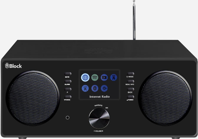 Block CR-20 Stereo smartradio met DAB+, internet en Spotify, zwart