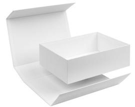 Box in the Box; luxe geschenkdoos beplakt met Wibalin®, WIT 22x16x7cm, verpakt per 20 stuks.