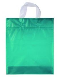 Kunststof draagtas met lus handgreep formaat 30x35+5cm, aquamarijn, verpakt per 500 stuks.
