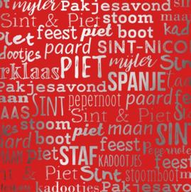 Sinterklaaspapier GEMETALLISEERD 891827/3-50 Sint handlettering rood, 125 meter