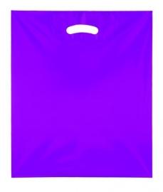 Kunststof draagtas colourline, uitgestanste handgreep formaat 38x45cm, paars, verpakt per 500 stuks.