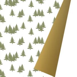 Inpakpapier glanzend K691935/3-50 XMAS TREES OLIVE/GOLD (dubbelzijdig)