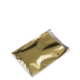 Gemetalliseerde cadeauzakjes, 25x33,5+3 cm, met plakstrip, verpakt per 100 stuks
